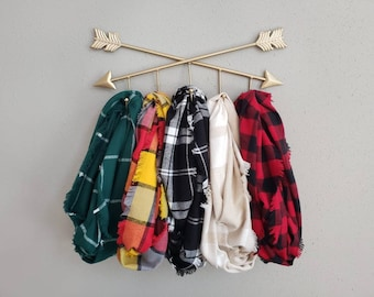 Fall Color Burst Plaid Fringe or Hemmed Scarf Collection Plaid Infinity Scarves Choose Your Print