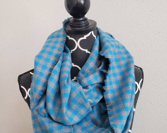 Teal & Grey Fringed or Hemmed Plaid Flannel Infinity Scarf Classic Plaid Scarves Womens Plaid Circle Scarf Girls