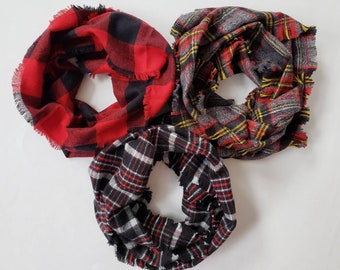 Holiday Collection Plaid Fringe Toddler Scarf Childrens Infinity Scarves Plaid Baby Scarf Fringed Fall Scarf Toddler Girl Scarf Toddler Boy