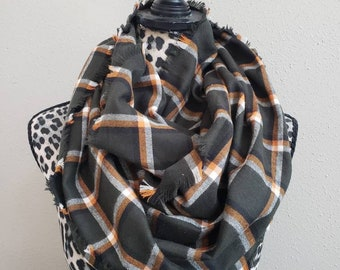 Changing Leaves Fringed or Hemmed Plaid Flannel Infinity Scarf Classic Plaid Scarves Womens Green and Orange Plaid Circle Scarf Girls
