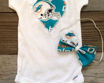 Miami dolphins babygirl onesie and headband set 5f74b4a15