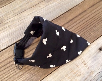 Monochrome Mickey Mouse dog bandana, over the collar Mickey Mouse dog bandana