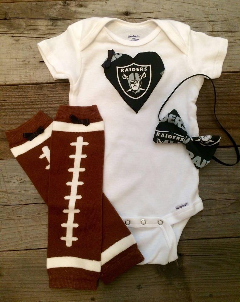 067250535 Oakland Raiders baby girl onesie and headband set raider baby   Etsy