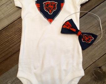 Chicago Bears baby girl onesie and headband set, Chicago bears baby girl oufit