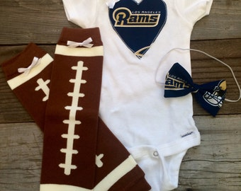 Los Angeles rams babygirl onesie and headband set, la rams baby bodysuit