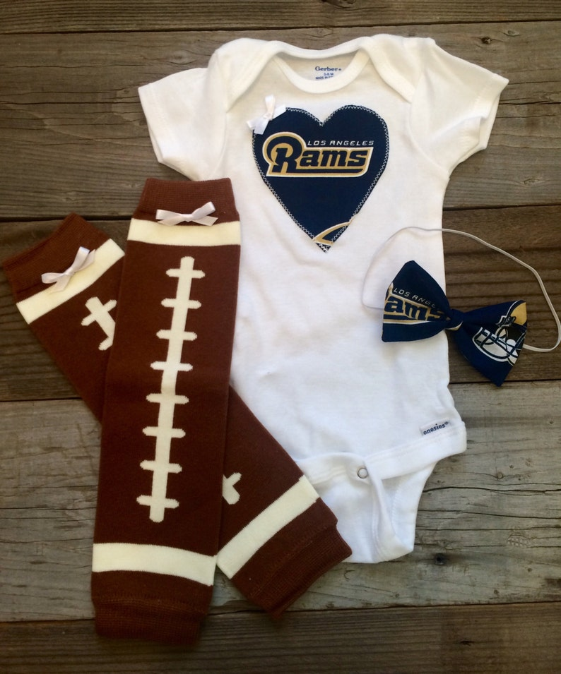 5991aa2b405 Los Angeles rams babygirl onesie and headband set la rams