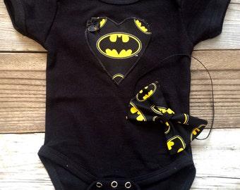 Batman baby girl onesie and headband set