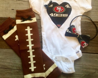 San Francisco 49ers babygirl onesie and headband set