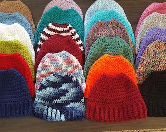 crochet messy bun hats   aka ponytail hats  25 + colors available !! messy  bun hat   ponytail hat   messy bun. made and ready to ship ! d144fa9f3fd