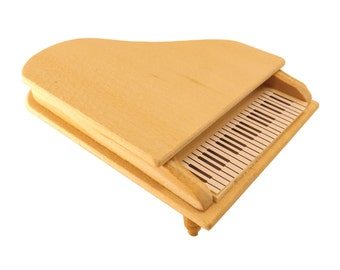 Unfinished Wood Pine Miniature Piano for Dollhouse 1:12