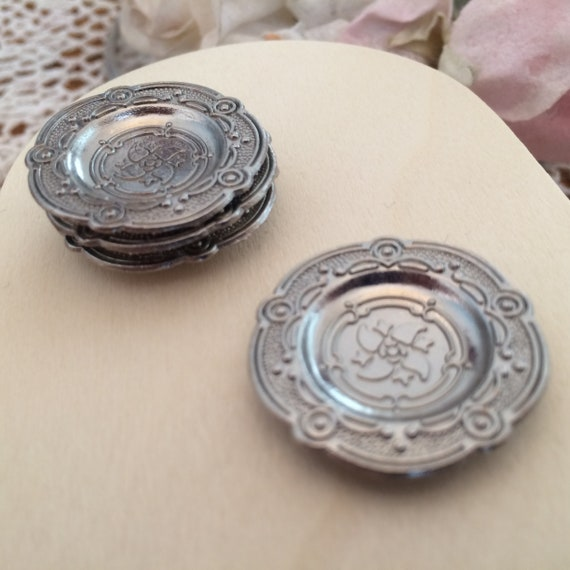 12 ct Miniature Pewter Style Dishes Plates Dollhouse Formal Dining Room 1:12