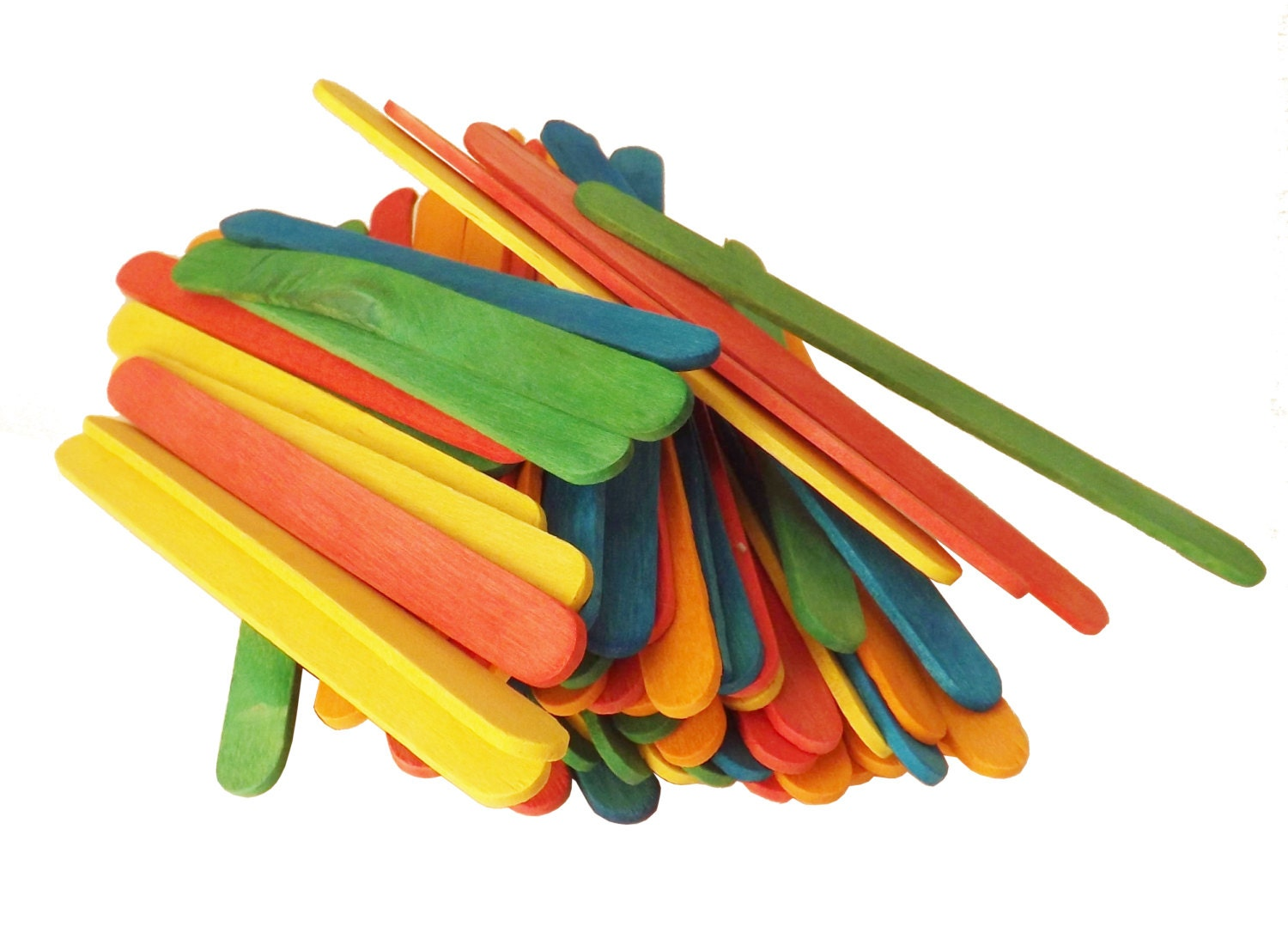 100 Ct Colored Dyed Wood Popsicle Sticks Craft Sticks