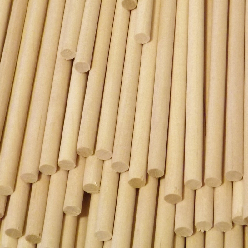 """Short 1//2/"""" x 3/"""" Natural Birch Wood Dowel Rods 100 ct Thick"""