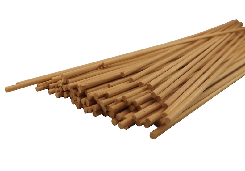 """1//2/"""" x 12/"""" Thick Natural Birch Wood Dowel Rods 10 pack"""
