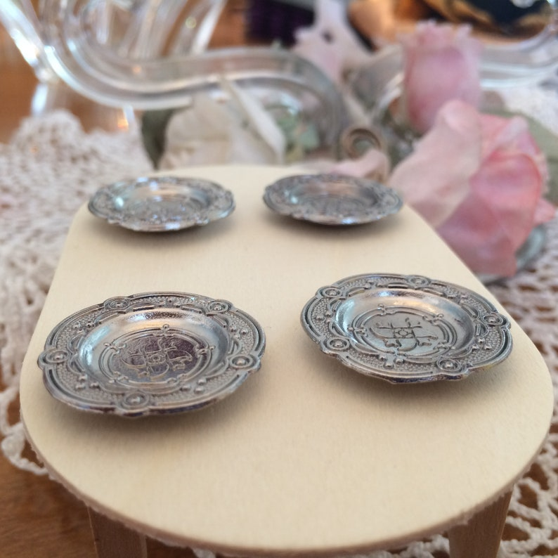 Miniature Set of 4 Pewter Style Dishes Plates Dollhouse Formal Dining 1:12