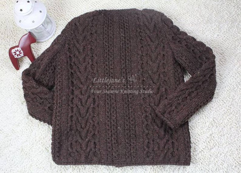Jane/'s Handmade~women/'s sweater~70/'s~vintage cable braid handknitted cardigan~pure wool chunky yarn~plus size made to order~rusty