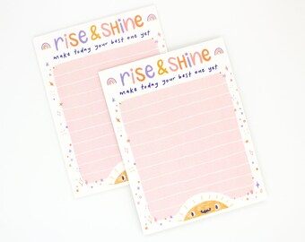 RISE and SHINE Motivational Daily Notepad, Cute Stationary, Paper Organizer, School, Note Taking, Tracker, Lined Sheets, Lists