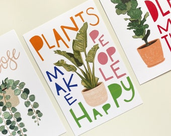 Plant Illustration Prints (Set of 3) | Post Card Size | 6 x 4 | Home Decor | Wall Art | Modern | Smooth Matte Cardstock