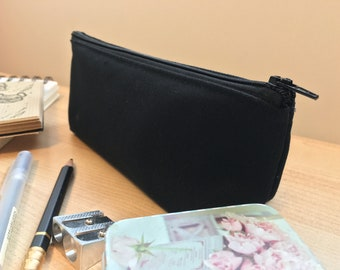 Handmade Black Or Plain Canvas Pencil Case | Canadian Fabric, Zipper, Make-Up, Stationary Bag, On-the-Go, Square Bottom, Durable, Minimal