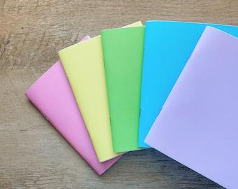 Handmade Travel Sketchbook, Journal, Mixed Media Notebook, Rainbow, Pink, Yellow, Green, Blue, Lavender Purple, Gift, Kids, Stationary