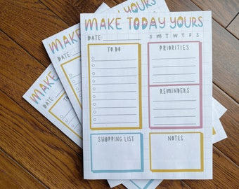 MAKE TODAY YOURS Motivational Daily Notepad Full Letter Size 8.5x11, Cute Stationary, Paper Organizer, School, Note Taking, Tracker, Lists