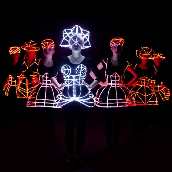 pretty nice 7f8cd 11ecf Rave LED light up Cage dress + Crown outfit / fashion festival costume  clothing - from ETERESHOP_C28
