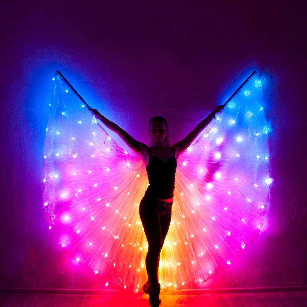 Smart Led Bellydance Rainbow Wings 164leds Etsy How To Build Dancing Leds