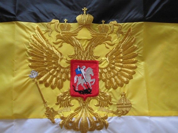 "Russian Flag 30/""x48/"" 75x120cm Polyester embroidered flag two-headed eagle Russia"