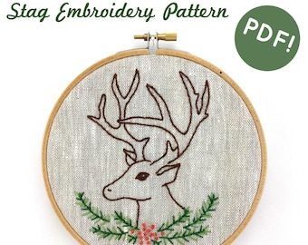 Stag Embroidery Pattern - Digital Download