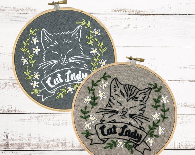 Cat Lady embroidery pattern, catlady embroidery kit, DIY cat embroidery, cat lady life, gift for cat lover, I Heart Stitch Art, cat xstitch
