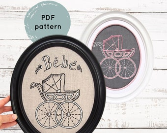 Pram Embroidery Pattern - Digital Download