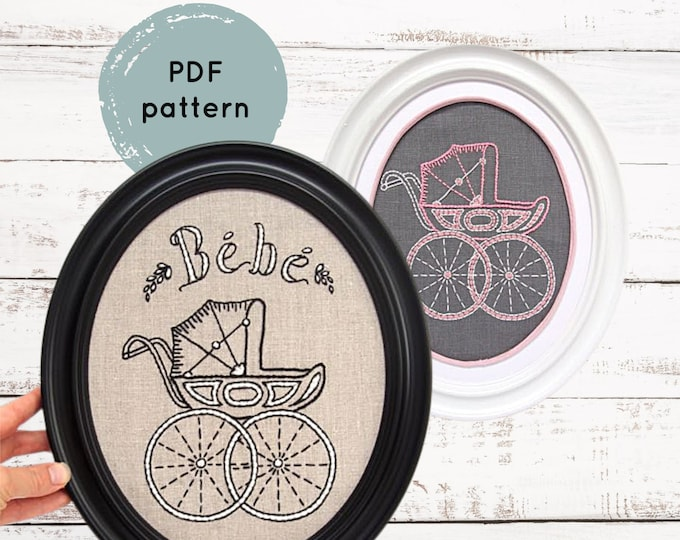 Pram Embroidery Pattern - Digital Download