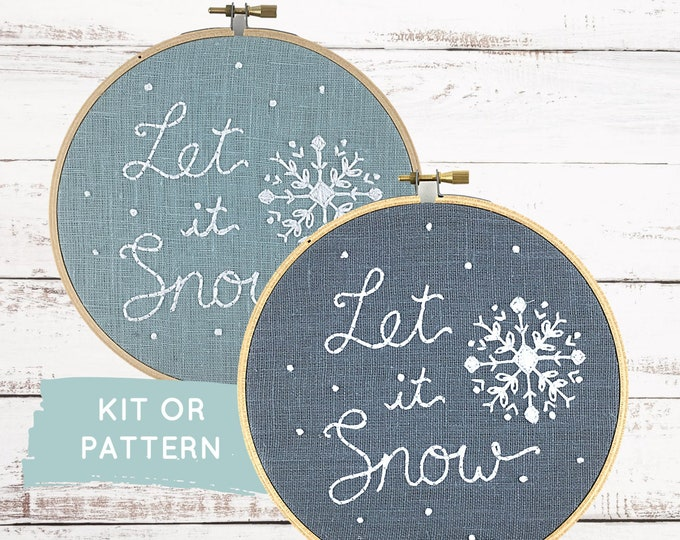 Beginner embroidery kit, Let it Snow, snowflake embroidery kit, snowflake pattern, DIY holiday decor, easy Christmas embroidery kit
