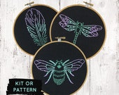 Modern Embroidery Kit, Peacock Ombre