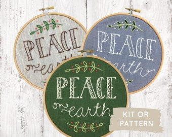 Embroidery kit, Peace On Earth, Christmas embroidery, DIY holiday decor, Christmas embroidery pattern, I Heart Stitch Art, easy embroidery