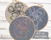 Tulips embroidery kit, modern hand embroidery pattern, DIY hoop art, tulips embroidery pattern, floral embroidery kit, flower embroidery