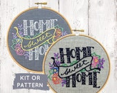 Home Sweet Home embroidery KIT, embroidery pattern, modern hand embroidery, I Heart Stitch Art, embroidery kit, DIY housewarming gift