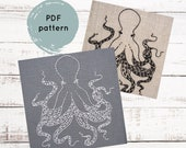 Hand embroidery pattern, PDF Octopus embroidery pattern, PDF embroidery pattern, modern hand embroidery pattern, octopus embroidery xstitch