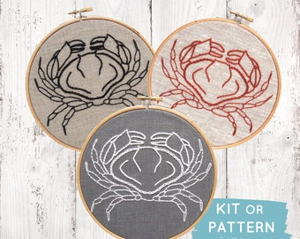 DIY embroidery kit, crab embroidery, modern hand embroidery pattern, DIY embroidery hoop art, crab cross stitch, DIY needlecraft kit
