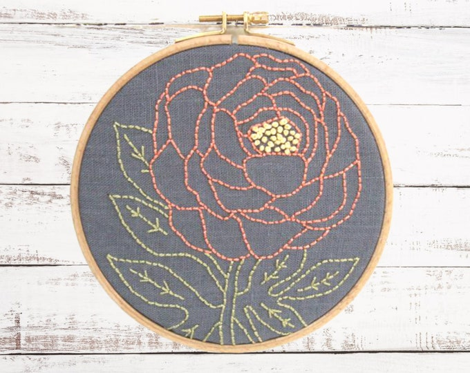 Embroidery Kit, Floral Embroidery Kit, Flower Embroider, DIY Embroidery, Flower Embroidery Pattern, Easy Embroidery, Beginner Embroidery Kit