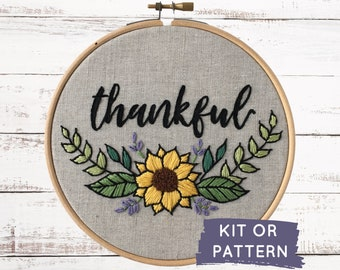 Embroidery kit, Thankful, DIY craft kit, Make at home craft kit, autumn embroidery pattern, easy DIY embroidery kit, thanksgiving embroidery