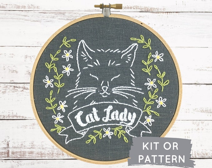 Cat Mom Gift, DIY Embroidery Kit, Modern Embroidery Kit, Hand Embroidery Kit, Cat Lady Embroidery Pattern, Cat Lady, Gift for Cat Lover, DIY