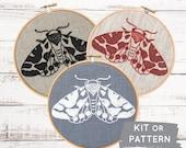 DIY embroidery KIT, moth embroidery pattern, modern embroidery kit, moth needlecraft kit, DIY craft kit, kits by  iHeartStitchArt