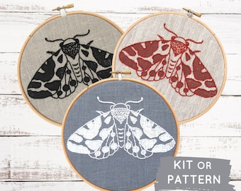 Modern DIY Embroidery Kit: Moth