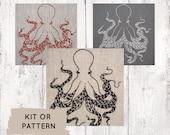 Modern Embroidery Kit, Embroidery Kit, DIY Embroidery Kit, DIY Embroidery Pattern, Hand Embroidery Kit, Octopus, Cephalopod, Stitching Kit