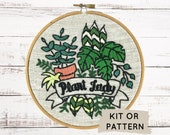 Embroidery Kit, Modern Embroidery KIt, DIY Embroidery, Hand Embroidery Kit, DIY Embroidery Kit, Embroidery Pattern, Plant Lady Embroidery