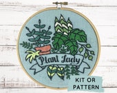 Plant Lady Embroidery Kit, Modern Hand Embroidery Kit, DIY Embroidery Kit or Pattern, Embroidery Kit, Plant Hand Embroidery Pattern