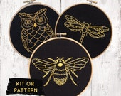 Modern black and yellow embroidery kit, bee embroidery kit, dragonfly embroidery kit, owl embroidery kit, modern hand embroidery pattern