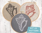 Conch shell embroidery kit, shell embroidery kit, modern hand embroidery pattern, DIY embroidery hoop art, beach theme decor, DIY craft