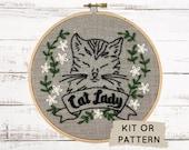 Hand Embroidery Kit, Embroidery Kit, DIY Embroidery, DIY Embroidery Kit, Cat Lady Embroidery Pattern, Modern Embroidery Kit, Cat Embroidery